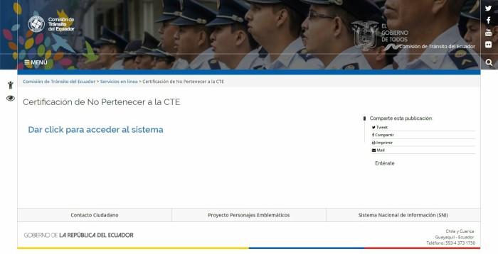 Certificado de no pertenecer a la CTE
