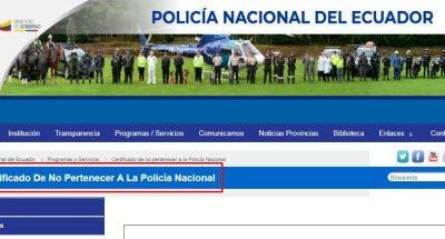 Certificado de no pertenecer a la Policia Nacional