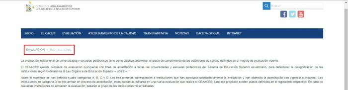 Evaluación del CACES Institucional