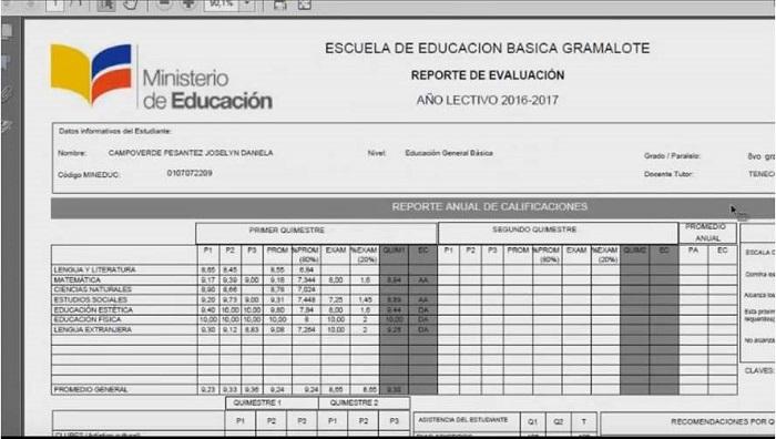 Imprimir notas de Educar Ecuador