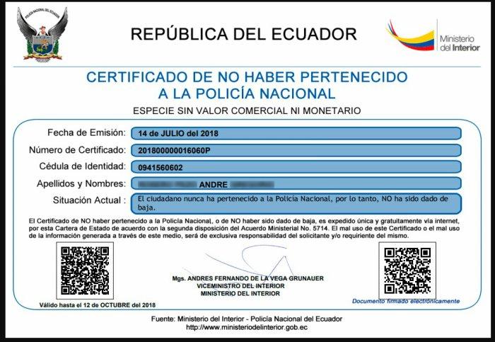 Modelo certificado de no pertenecer a la policía nacional
