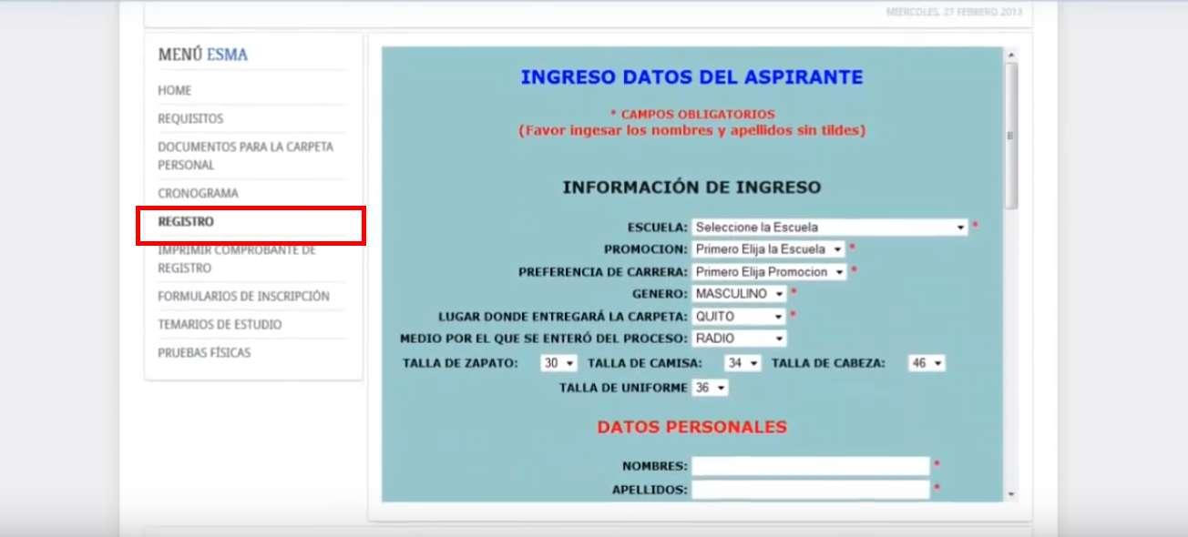 Reclutamiento FAE datos registro
