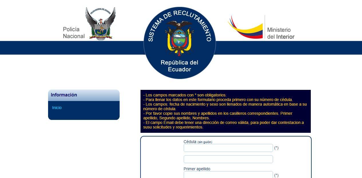 Reclutamiento policía nacional en línea