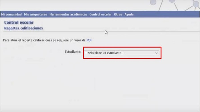 Seleccione un estudiante en Educar Ecuador
