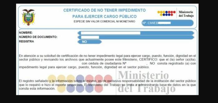 certificado de no tener impedimento 2