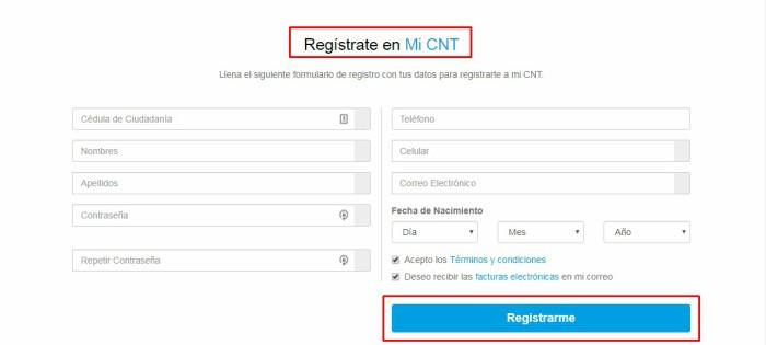 crear nueva cuenta en Mi CNT