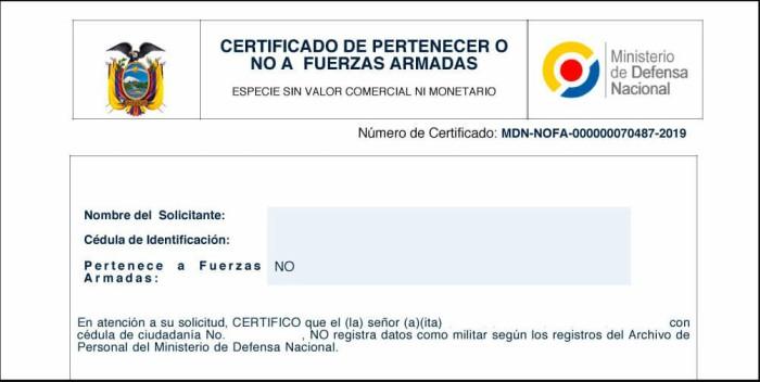 modelo certificado de no pertenecer a las fuerzas armadas