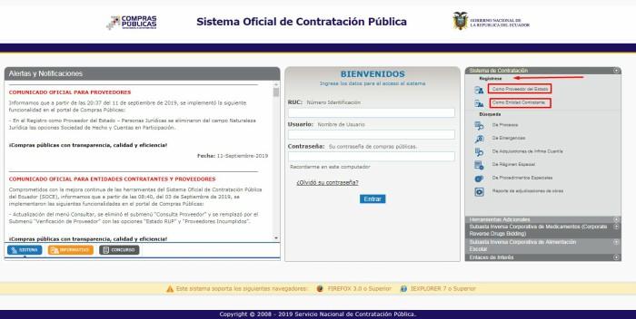 opciones para registro SNCP