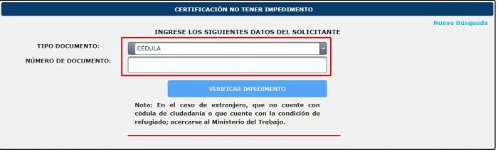 pasos para obtener certificado de no tener impedimento