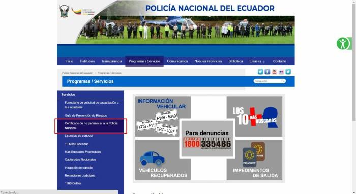 seleccionar certificado de no pertenecer a la policía nacional