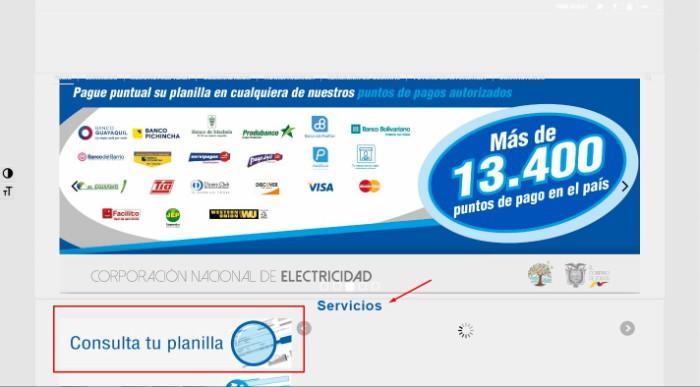 seleccionar consulta tu planilla CNEL